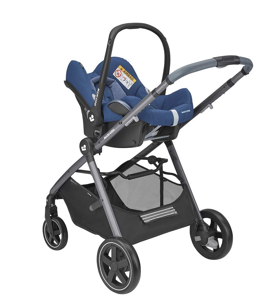 Maxi-Cosi Zelia Baby Pushchair, Lightweight Urban Stroller from Birth, Travel System with Bassinet, 15 kg, Essential Blue Maxi-Cosi Flexible stroller from birth to 3.5 years 2-in-1 seat unit: zelia's seat transforms into a pram bassinet for use from 0 - 12 m in a single movement This city stroller is easy to carry thanks to its lightweight 10