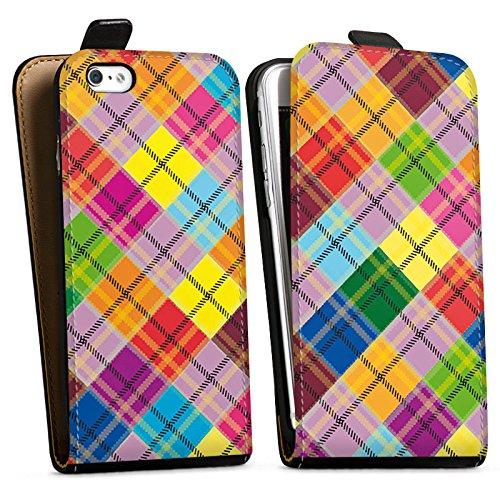 Apple iPhone X Silikon Hülle Case Schutzhülle Karo Bunt Stoff Look Downflip Tasche schwarz