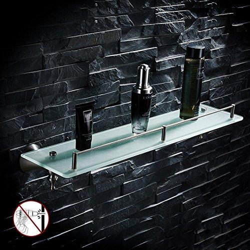 WSGZH Badezimmer Regal Rack Waschraum Dusche Wand Ecke Glasbecken Vor Dem Spiegel Kosmetische Lagerung Einfache Mode Edelstahl, Einzelboden, 52 * 12,2 cm - Ecke Wand Lagerung