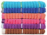 Casa Copenhagen Linea Ribbed Zero Twist 650 GSM Cotton Face Towel (Multicolour) - Set of 6 Pieces
