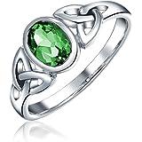 Amicizia Triquetra Nodo Celtico Promessa Anello per Donne Kelly Ovale Verde Smeraldo Simulato 925 Sterling Argento
