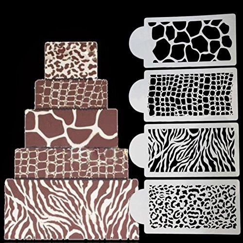 BENHAI 1 Satz / 4 Stücke Kuchen Zebra Haut Leopard Korn Krokodil Kuchen Schablone Kuchen Dekorieren Tools Giraffe Sugarcraft Icing Schablone Küche Design Schablone - Krokodil-korn