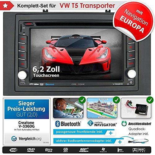 2DIN Autoradio CREATONE V-336DG für VW T5 Transporter (vor Facelift 2003-09/2009) mit GPS Navigation (Europa), Bluetooth, Touchscreen, DVD-Player und USB/SD-Funktion (Dvd-player-auto-doppel-din)