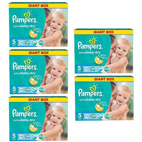 """Preisvergleich Produktbild Pampers Windeln Active Baby Dry Junior Gr. """"5"""" 11-18 Kg Bis zu 468 Stk Monatsbox (Junior 5x78 Stk = 390)"""