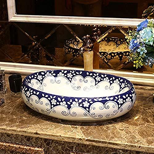 Gorheh Badezimmer Blaue Und Weiße Porzellankunst Über Gegenbassin Keramikwaschbecken Chinesisches Bassinwaschbecken Waschbecken Im Badezimmer