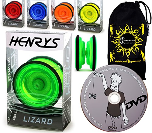 Lernen Yo Yo Tricks DVD + Reisetasche! Yoyo profi für Kinder und Erwachsene! AXYS-Systemachse Slider mit High-Speed-Lager. (Grun) by Henrys / Flames N Games (Cool, Yo-yos)