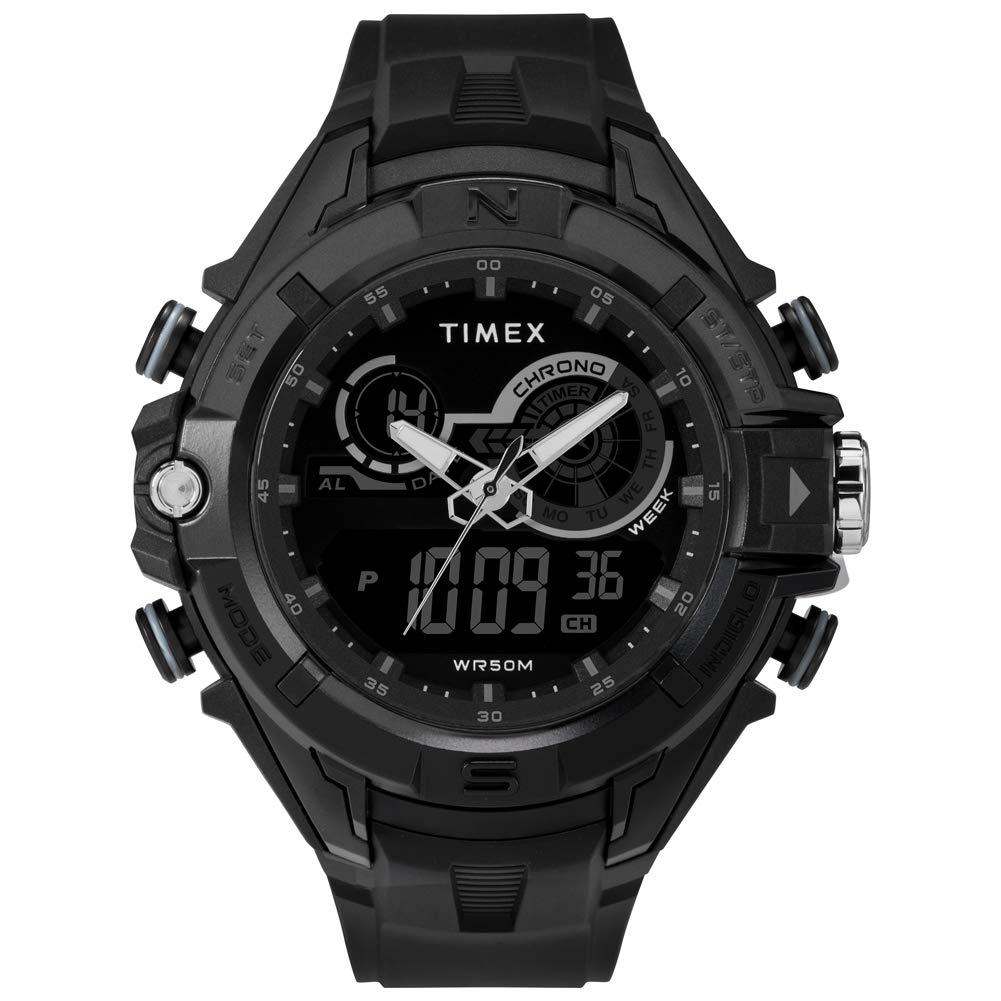 Timex Men's The GuardDGTL 47 mm Resin Strap Combo Watch