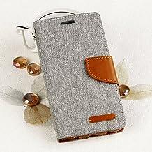Ego® Luxury–Funda tipo libro con práctica atril para Samsung Galaxy S6gris Flip Case Cierre Magnético Book Cover con tarjetero Wallet Stand Carcasa Canvas