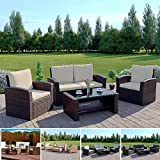 Rattan Outdoor Garden Patio/Conservatory 4 Seater Sofa and Armchair set with Cushions and Coffee Table. Grey Brown Black. (Dark Brown with Light Cushions, Algarve 2+1+1)