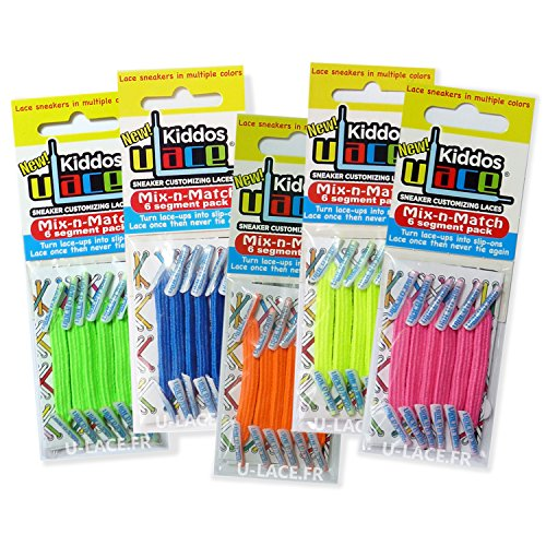 U-LACE - KIDDOS Lacets élastiques enfants de 3 à 7 ans - ATTENTION: 2 sachets au minimum pour une paire de baskets. Comptez les oeillets!