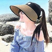 WYM Sun Hat Visera De Verano Femenina Cubierta De La Línea Púrpura Cara Ciclismo Al Aire Libre De Viaje Protector Solar Playa Sombrero De Paja,Gold