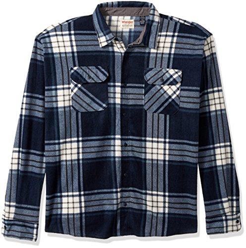Wrangler Authentics Herren Fleece-Hemd, langärmelig, kariert - Blau - 3X-Groß - Jeans Wrangler Men Tall