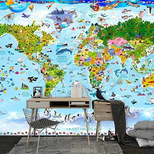 decomonkey | Fototapete Weltkarte Kinder Tiere Kindertapete bunt 350x256 cm XL | Design Tapete | Fototapeten | Tapeten | Wandtapete | moderne Wanddeko | Wand Dekoration Schlafzimmer Wohnzimmer Kinderzimmer | FOA0038a73XL