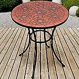 Jago Mosaik Gartentisch Ø 60 cm | Mosaiktisch | Beistelltisch für den Garten und Terrasse | Metall Gestell und Stein Mosaik