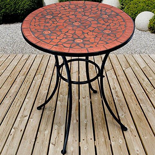 Jago Mosaik Gartentisch Ø 60 cm | Mosaiktisch | Beistelltisch für den Garten und Terrasse | Metall...