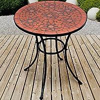 Mesa de jardín de mosaico Diámetro 60cm | mosaico mesa | mesa auxiliar para el jardín y terraza, estructura de metal y piedra Mosaico