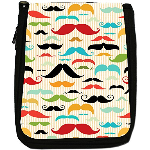 Trendy con baffi Hipster, motivo: baffi, colore: nero, Borsa a spalla in tela da uomo, taglia media Vintage Collection Facial Hair