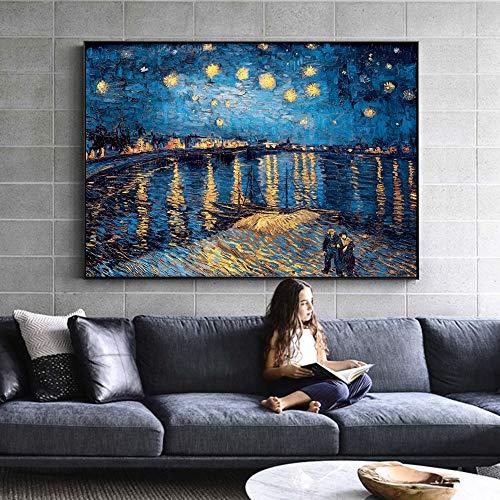 Hllhpc Van Gogh Noche Estrellada Pinturas Lienzo Replica