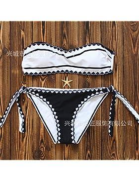Moderno y cómodo bikini _ en traje de baño moderno y elegante chica pecho correas de tela fina cáscara frágil...