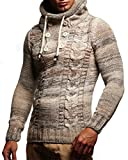 LEIF NELSON Herren Pullover Hoodie Kapuzenpullover Strickpullover Longsleeve Sweater Sweatshirt Pulli LN20227; Größe XL, Beige