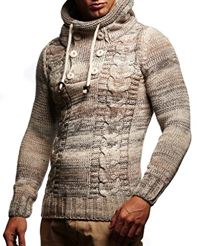 LEIF NELSON Herren Pullover Hoodie Kapuzenpullover Strickpullover Longsleeve Sweater Sweatshirt Pulli LN20227; Größe L, Beige