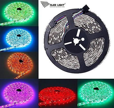 ALED LIGHT Ruban LED Etanche 5M (16.4 ft), 300 LED 5050 RGB SMD Multicolore Bande LED Flexible Lumineux Strip Light + Télécommande à Infrarouge 44 + Adapteur + Alimentation 5A 12V