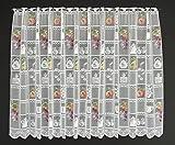 Cortina de media altura frutas altura 90 cm   Ancho de la cortina seleccionable por la cantidad comprada en pasos de 17 cm   Color blanco con colorido   Cortinas cocina
