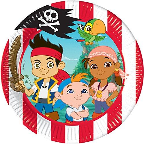 Disney 20cm Jake und die Nimmerland Piraten Party Teller, 8Stück (Die Und Nimmerland-party Jake)