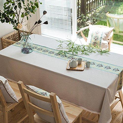 Glas Mahagoni Couchtisch (P&P Klassisch Chinesischer Stil Tuch Leinen Einfach Mahagoni Kaffetisch Wasserdicht Tischdecke , 130*180cm , green)