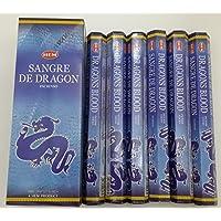 Hem Dragons Blood Hexa - Bastoncini di incenso, 6 confezioni x 20 bastoncini = 120 pz, aroma: sangue di