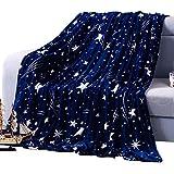 shinemoon Drap Housse Lit Canapé Ultra Doux Motif étoiles Touch Couverture douillette couvre-lit Bleu foncé Flanelle Couvertures en polaire pour animaux/Full/Queen taille