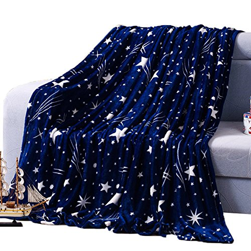 Shinemoon coperta copriletto e divano super morbida, coccolosa e leggera, colore blu intenso con stelle, plaid per animali in pile flanella/matrimoniale/una piazza e mezza