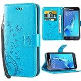 Galaxy J3 Coque,J3 Coque Rabat Portefeuille PC Cuir Anti choc avec Béquille Housse Etui pour Samsung Galaxy J3 2016 / 2015 5.0 Pouce Bleu