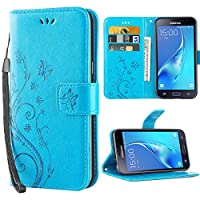 iDoer Galaxy J3 Retro Flor PU Cuero Wallet Cartera Silicona Card Slot Case Con Correa de Muñeca con Función de Soporte Magnética Cierre Carcasa Tapa Para Samsung Galaxy J3 2016/2015 Azul