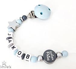 Schnullerkette mit Namen - Stern - Kleiner Prinz - Junge- silber - grau - blau - B010