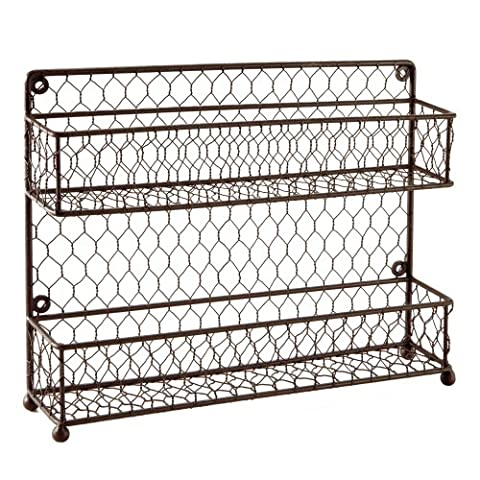 MyGift Rustic Brown Dual Tier Wire Spice Rack Jars Storage Organizer (Kitchen Countertop or Wall Mount) by MyGift