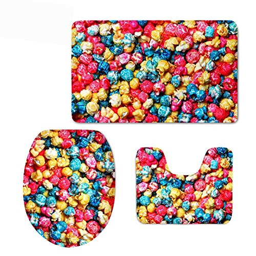 Zengyan Mixed Color Paisley 3 Piece Bathroom Rug Set, Bath Mat, Contour Rug, Lid Cover - 2 Stück Schokolade Vinyl