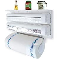 RYLAN 3 in 1 Wrap Center Holds Silver Foil, Plastic Wrap, and Paper Towels / 3 in 1 Kitchen Triple Paper Dispenser…