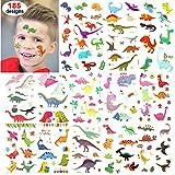 Konsait Tatuajes Temporales para Niños (185 diseños), Dinosaurios Tatuajes Temporales Pegatinas para niños Fiestas Infantiles Cumpleaños de Niños Regalo Piñata de Tatuaje Falso a Mano Cara