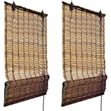 Juego de 2 Persianas - estores plisables de bambú de alta calidad - 60 x 160 cm (A x L) - Marrón