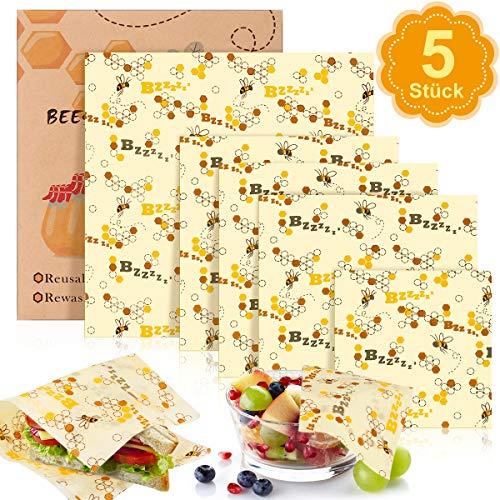 Braoses Beeswax Warp Wachspapier, 5er Set Wiederverwendbare Bienenwachstücher Bio Bienenwachs Lebensmittelverpackung Verschiedene Größe für Obst, Gemüse und Brot waschbare
