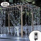 LED Lichtervorhang,Lichterwand 3m x 3m Lichterkettenvorhang 300 LEDs Lichterkette 8 Modi IP44 Wasserfest Lichtervorhang Warmweiß für...