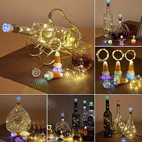 Neloodony Weinflaschen Lichterketten, 4er Pack LED Flaschenkorken Lichter, -