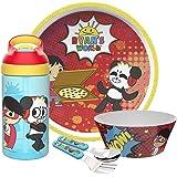 مجموعة أدوات طعام الأطفال من 5 قطع من زاك ديزاينز - رايان وورلد وباندا كومبو تتضمن طبق ووعاء وزجاجة مياه وأدوات مائدة أدوات م