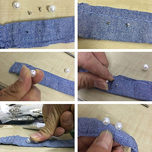 BIGBOBA 6 mm perlas y perlas 100 remaches de perlas blancas redondas para decoraci/ón de zapatos