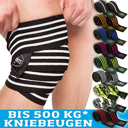 C.P.Sports Profi-Kniebandagen 200cm - 250cm T25 - Kraftsport, Bodybuilding, Powerlifting, Männer, Frauen, Fitness Bandage, Crossfit, Training, Kreuzheben (sw-orange)