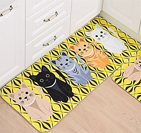 Hollwald Modern Fashion Novelty Cartoon Cute Lovely Style Cat Pattern Print Welcome Doormat Entrance Mat Decorative Floor Mats Rug for Indoor Outdoor Front Door Bathroom Stairway Toilet Study Floor Comfort Mat Bedside Area Rugs Non-slip Absorbent Kitchen Rug Runners Machine Washable Flexible Soft Smooth Carpet (XXL, Yellow)