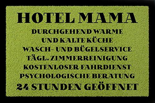 FUSSMATTE Türmatte HOTEL MAMA Muttertag Geschenk Spruch 60x40 cm Schmutzmatte Grün