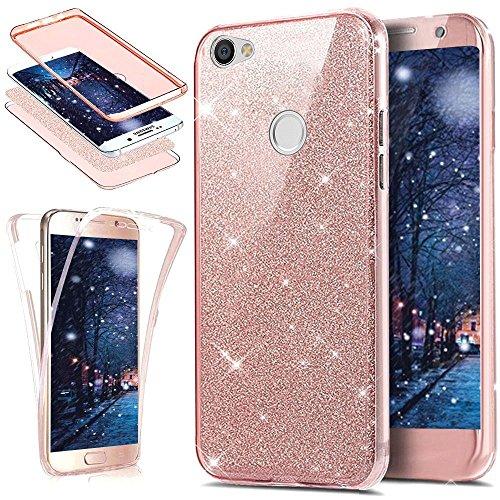 Ikasus - Funda para Xiaomi Redmi Note 5A de cuerpo entero, cristal transparente ultrafino con purpurina y estructura de poliuretano termoplástico