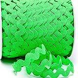 Zackenlitze, Uni 12 mm / 12 mm, col.527, neongrün, 2m, 100% Polyester